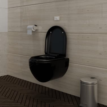 der wand h nge wc toilette edle design soft close schwarz. Black Bedroom Furniture Sets. Home Design Ideas