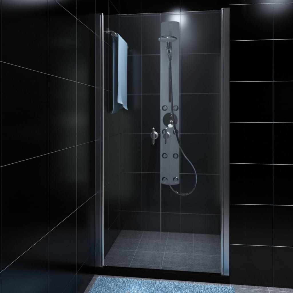 Porte de douche battante verre s curit transparent 80 90 for Fenetre verre securit