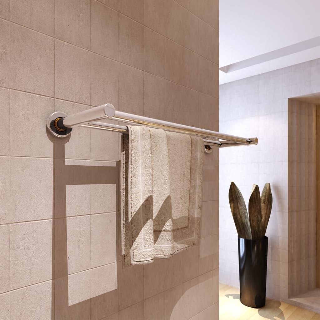 vidaXL Porta asciugamani in acciaio inox 2 barre