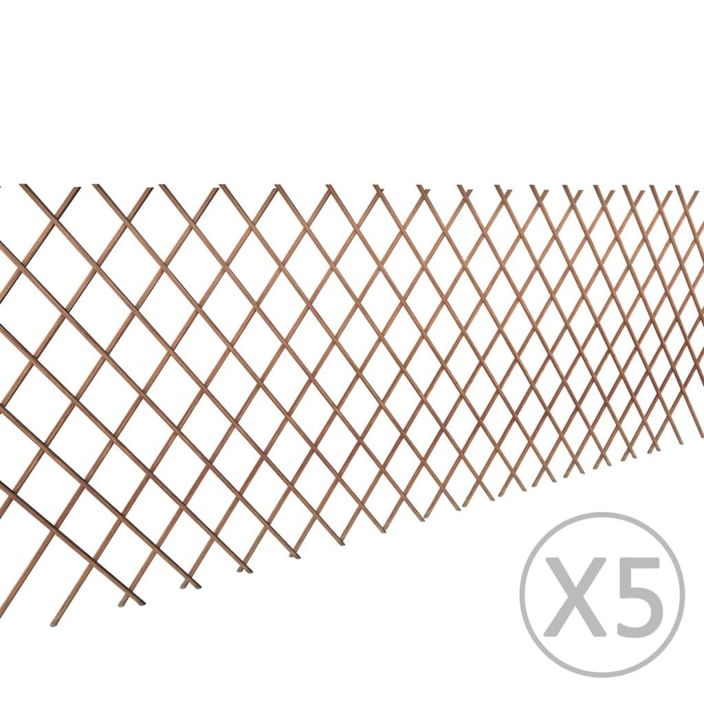 vidaXL Fűzfa Rácsos Kerítés 90 x 180 cm 5 db.
