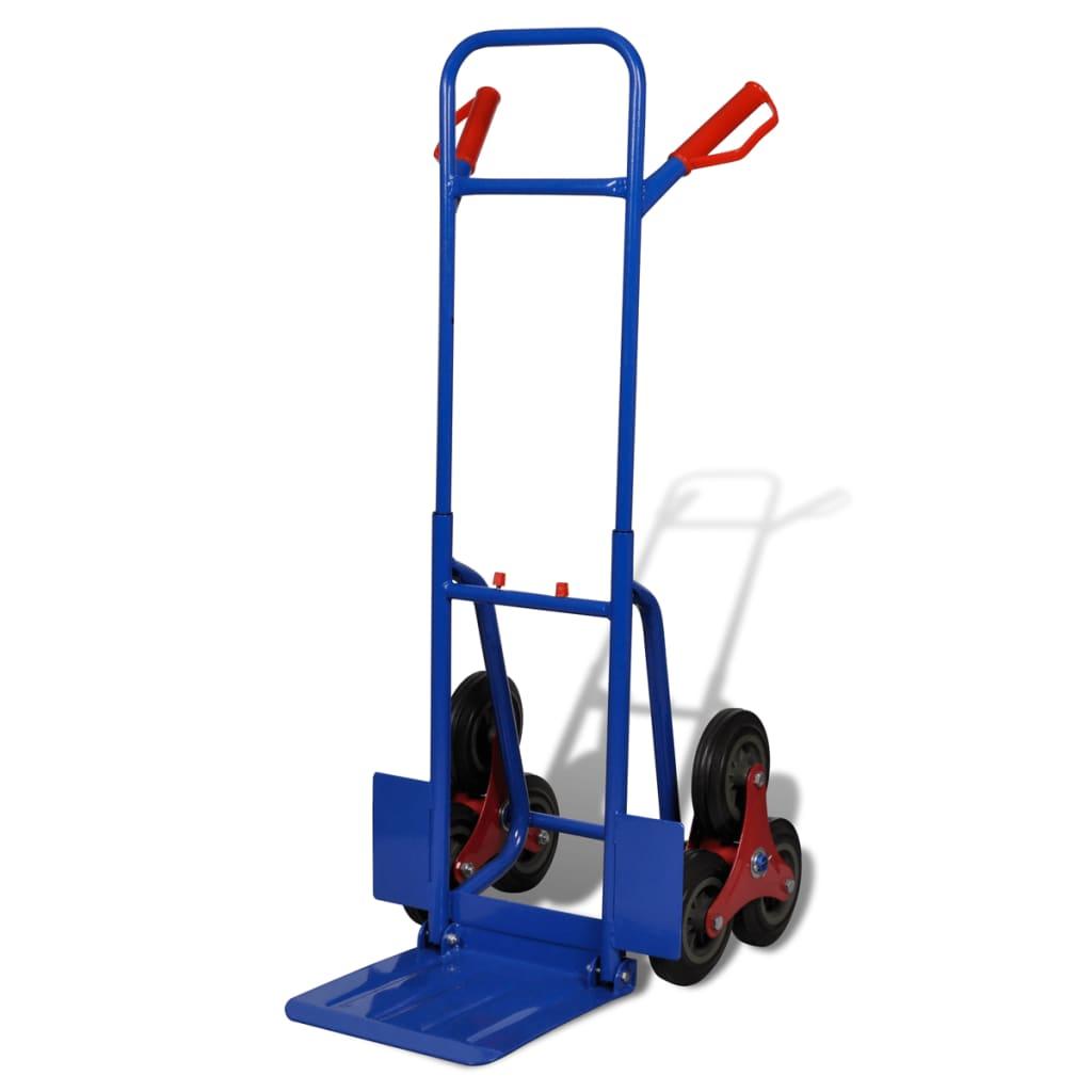 Opvouwbare trapsteekwagen met 6 wielen 200 kg (rood en blauw)