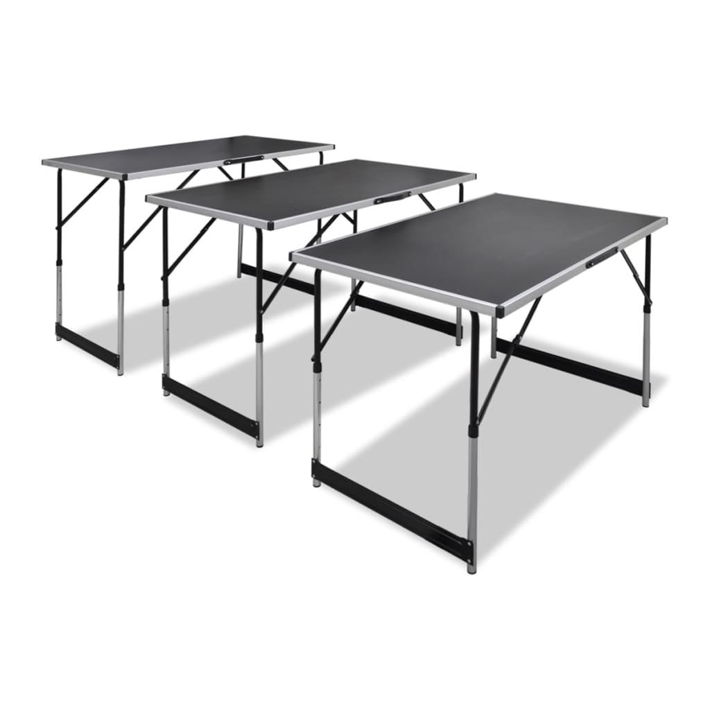 vidaXL Összecsukható Illesztő Asztal Állítható Magasság 3 darab
