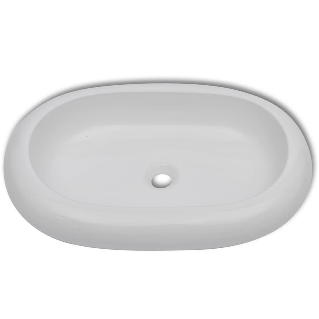der keramik waschtisch waschbecken oval wei 63 x 42 cm. Black Bedroom Furniture Sets. Home Design Ideas