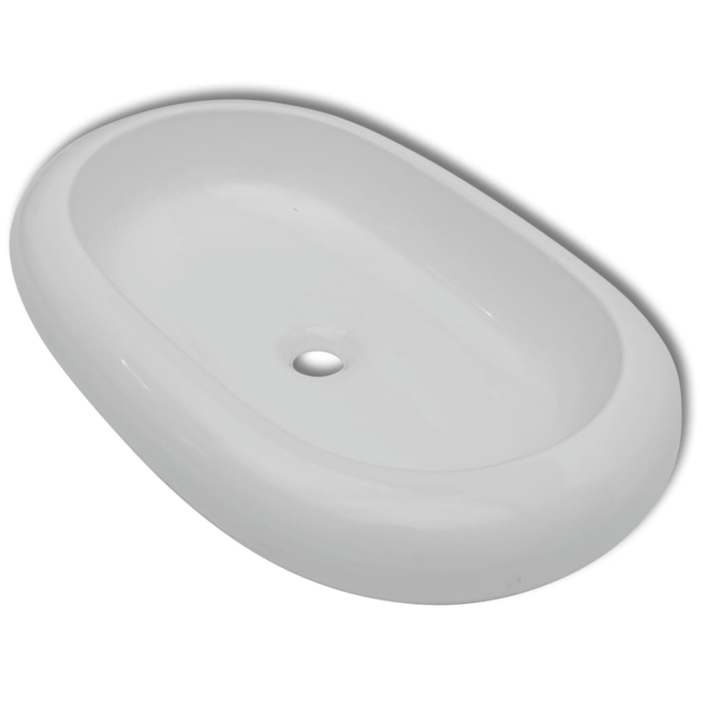 vidaXL-Ceramic-Basin-Oval-White-63x42x12cm-Bathroom-Sink-Countertop-Fixture