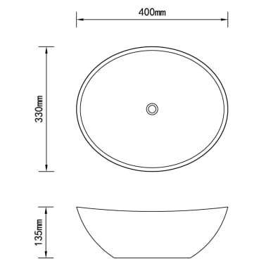 Luxueuse Vasque à poser en céramique Ovale Blanche 40 x 33 cm[6/6]