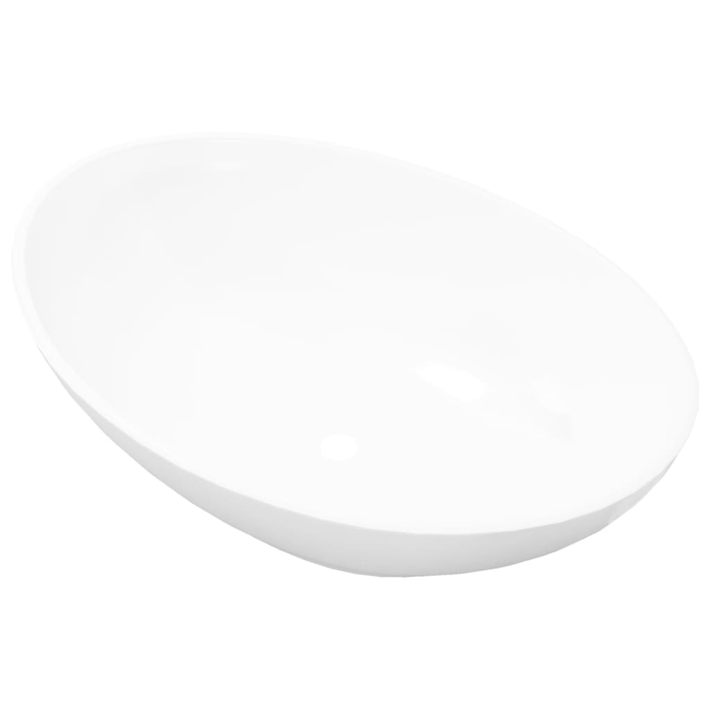 vidaXL-Ceramic-Basin-Ova-White-40x33x13-5cm-Bathroom-Sink-Countertop-Fixture