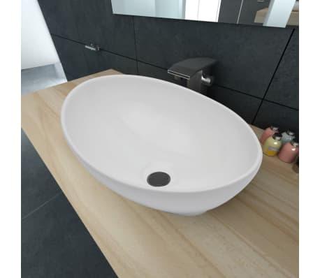 Luxueuse Vasque à poser en céramique Ovale Blanche 40 x 33 cm