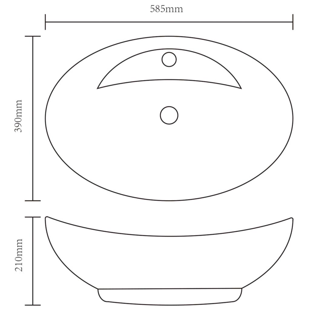 vidaXLnl  Luxe keramische wasbak ovaal met overloop (Wit) # Wasbak Overloop_055632