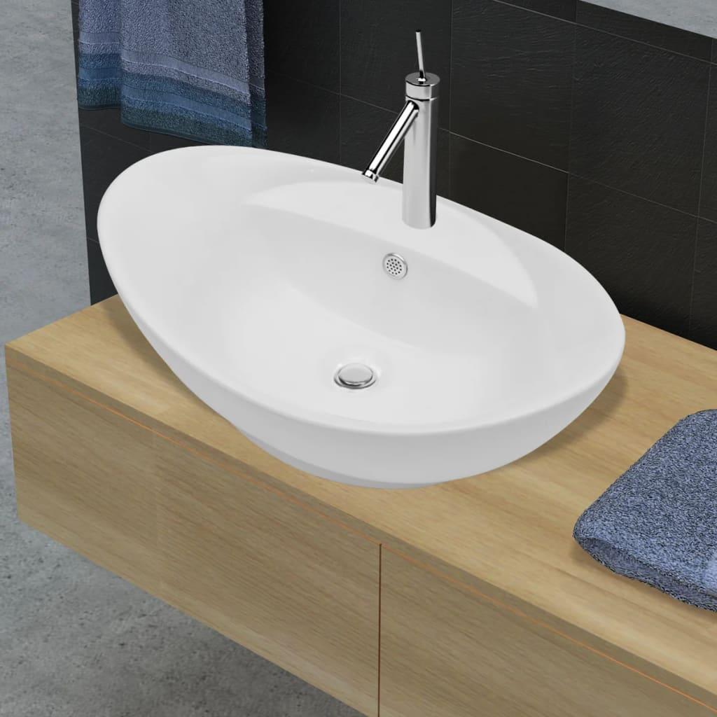 vidaXLnl  Luxe keramische wasbak ovaal met overloop (Wit) # Wasbak Action_011608