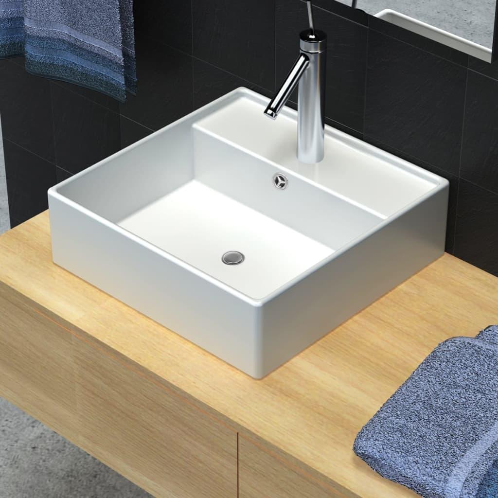 Vasque carr e trou trop plein robinet c ramique blanc for Ceramique pour salle de bain