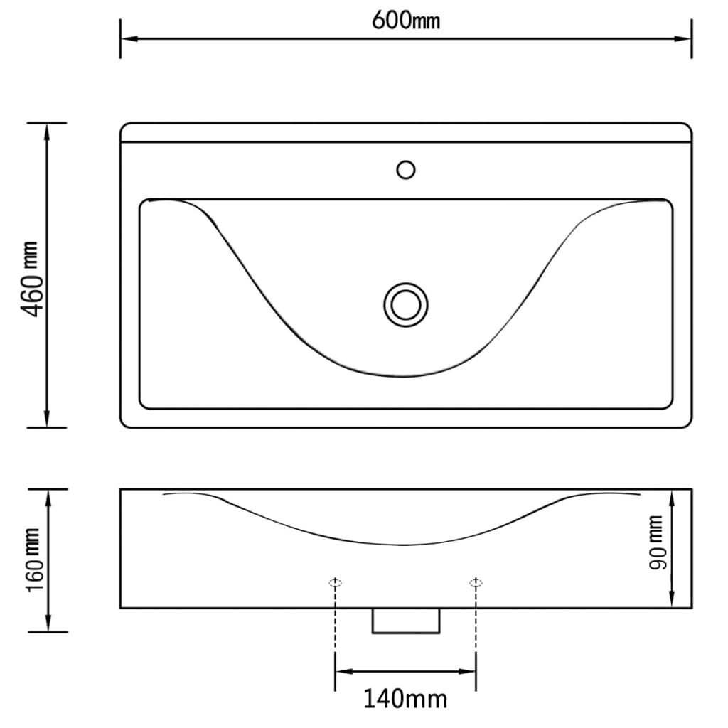 der keramik waschtisch waschbecken rechteckig wei 60 x 46 cm online shop. Black Bedroom Furniture Sets. Home Design Ideas