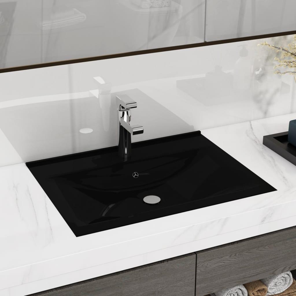 vidaXL Luxus Kerámia Négyszögletű Mosogató Fekete Csaptelep Lyuk 60 x 32 cm