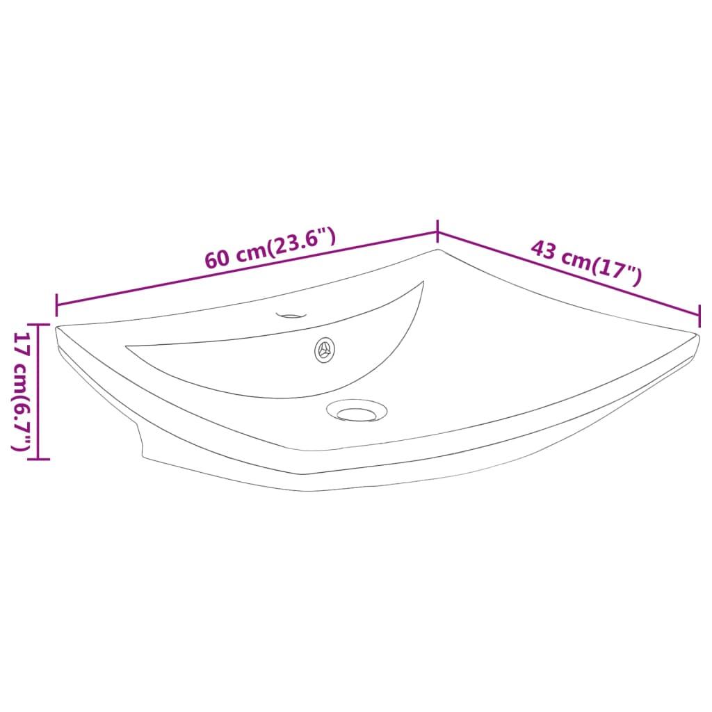 vidaXLnl  Luxe keramische rechthoekige wasbak kraangat + overloop 60×44 cm wit # Wasbak Overloop_055632