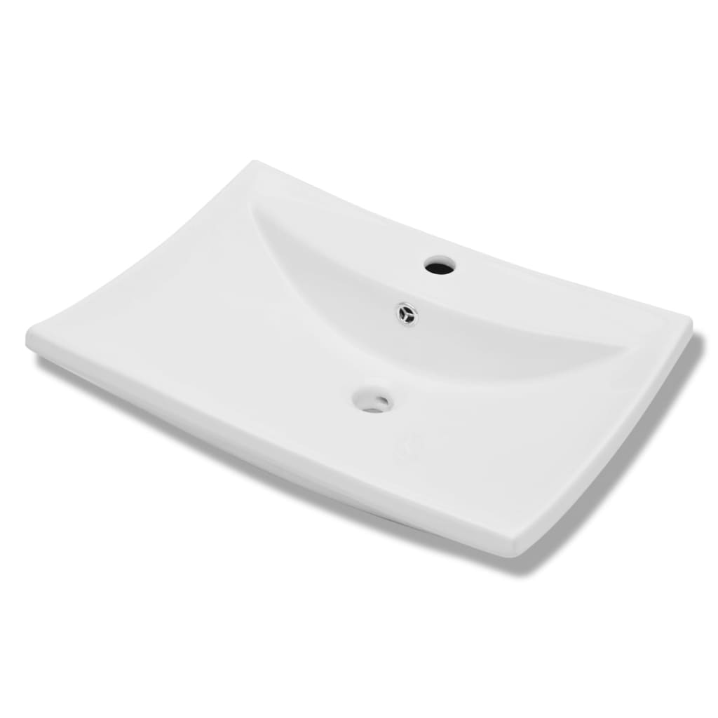 Lavabo rectangular de cer mica con agujero de grifo y for Lavabo rectangular