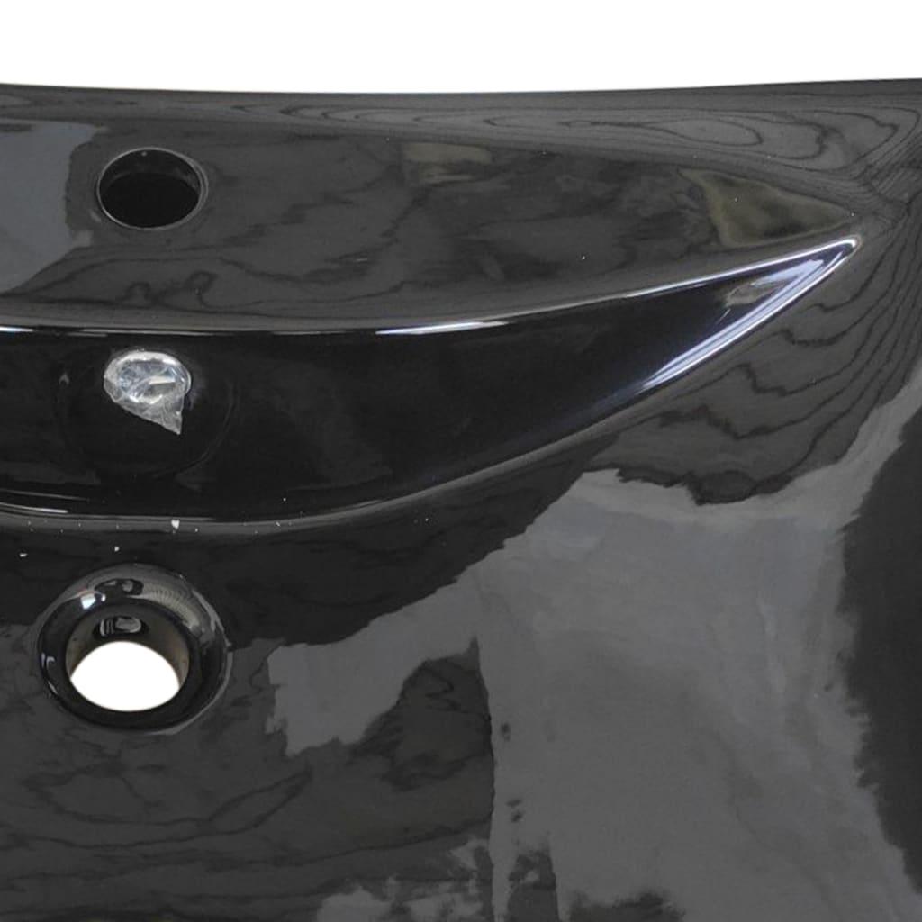 Lavabo rectangular cer mica negra desag e y agujero para for Lavabo rectangular