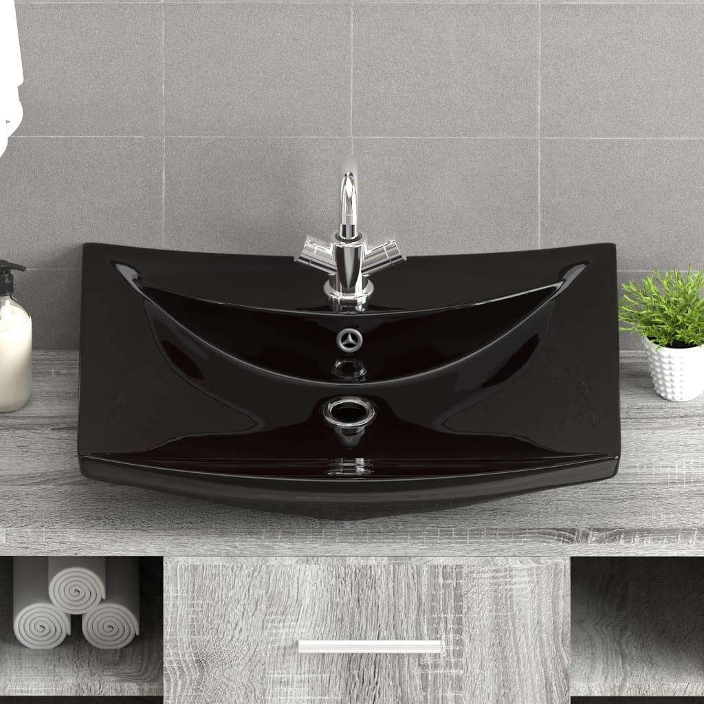 Luxe rechthoekige wastafel met overloop en for Kraan zwart