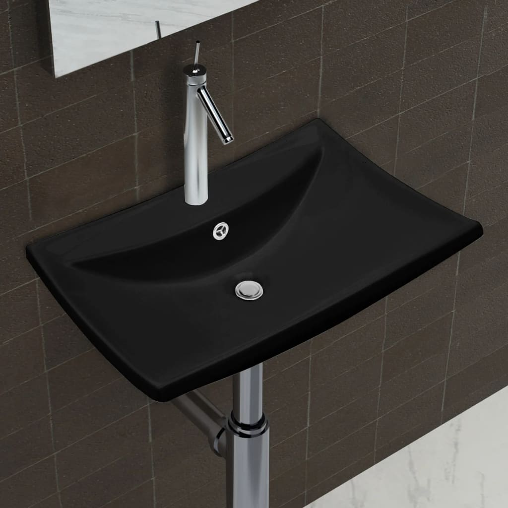 vidaXL Négyszögletes luxus kerámia mosdókagyló túlfolyóval és lyukkal csaphoz fekete