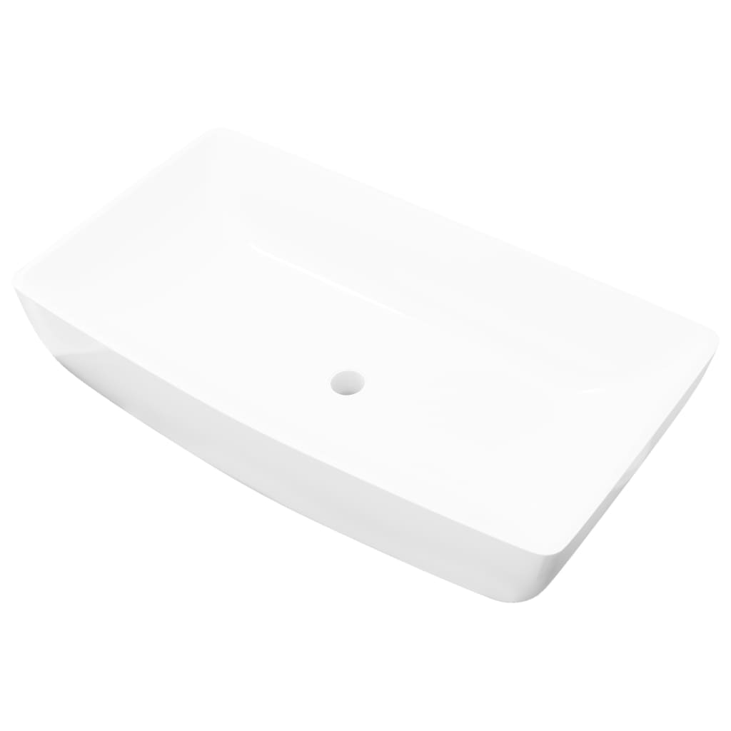 Lavabo cer mico lujoso en forma rectangular blanco 71 x 39 for Lavabo rectangular