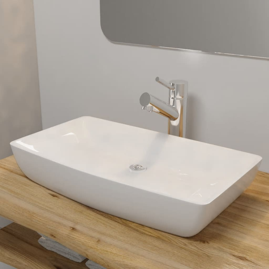 vasque a poser blanche vidaXL Lavabo Rectangulaire Céramique Blanc Vasque à Poser Lave-mains Bain