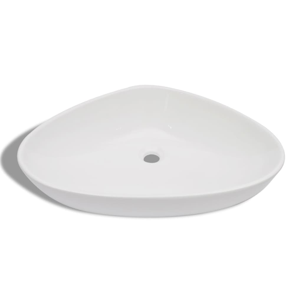vidaXL.co.uk Bathroom Porcelain Ceramic Sink Basin White Triangular