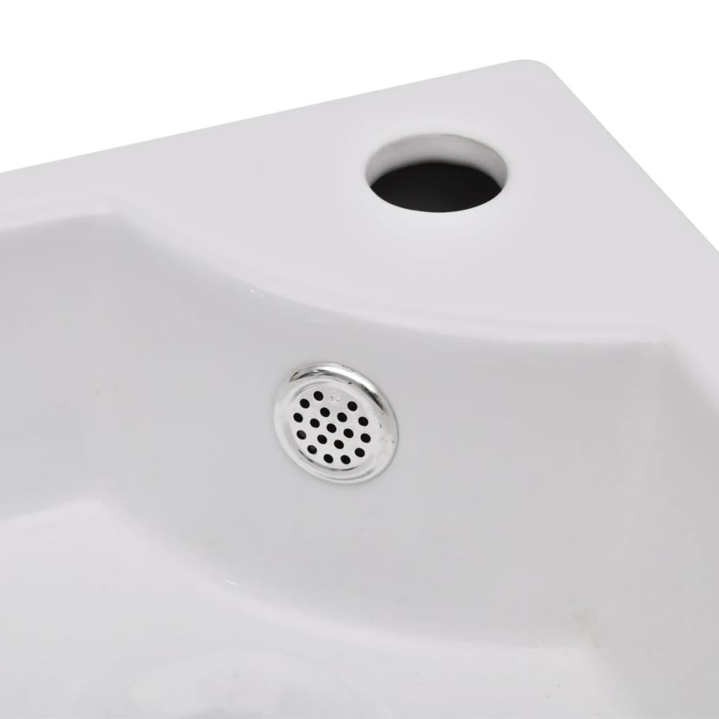vidaXLnl  Keramische wasbak hoekmodel met kraangat en overloop (wit) # Wasbak Overloop_055632