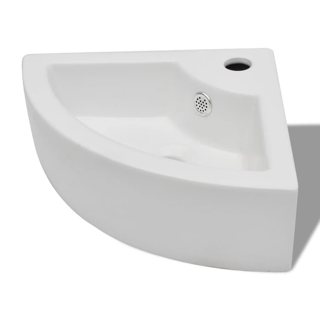 vidaxl keramik eck waschtisch waschbecken keramiksp len mit berlauf hahnloch eur 31 99. Black Bedroom Furniture Sets. Home Design Ideas