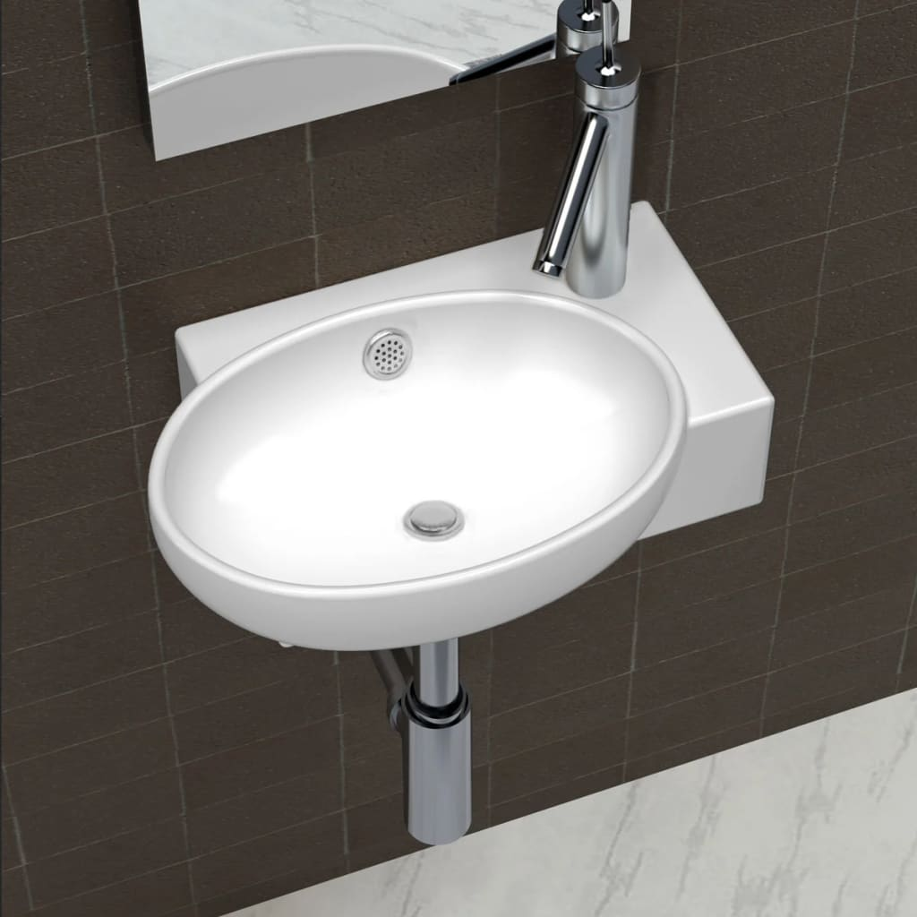 Ceramic sink basin faucet overflow hole bathroom white for Lavabo pour petit espace