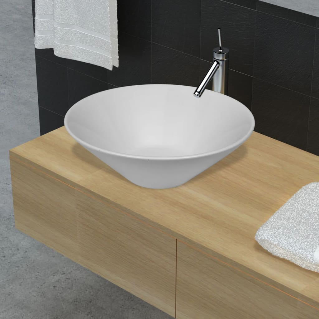 Image Is Loading Bathroom Ceramic Basin Vessel Sink Wash Round