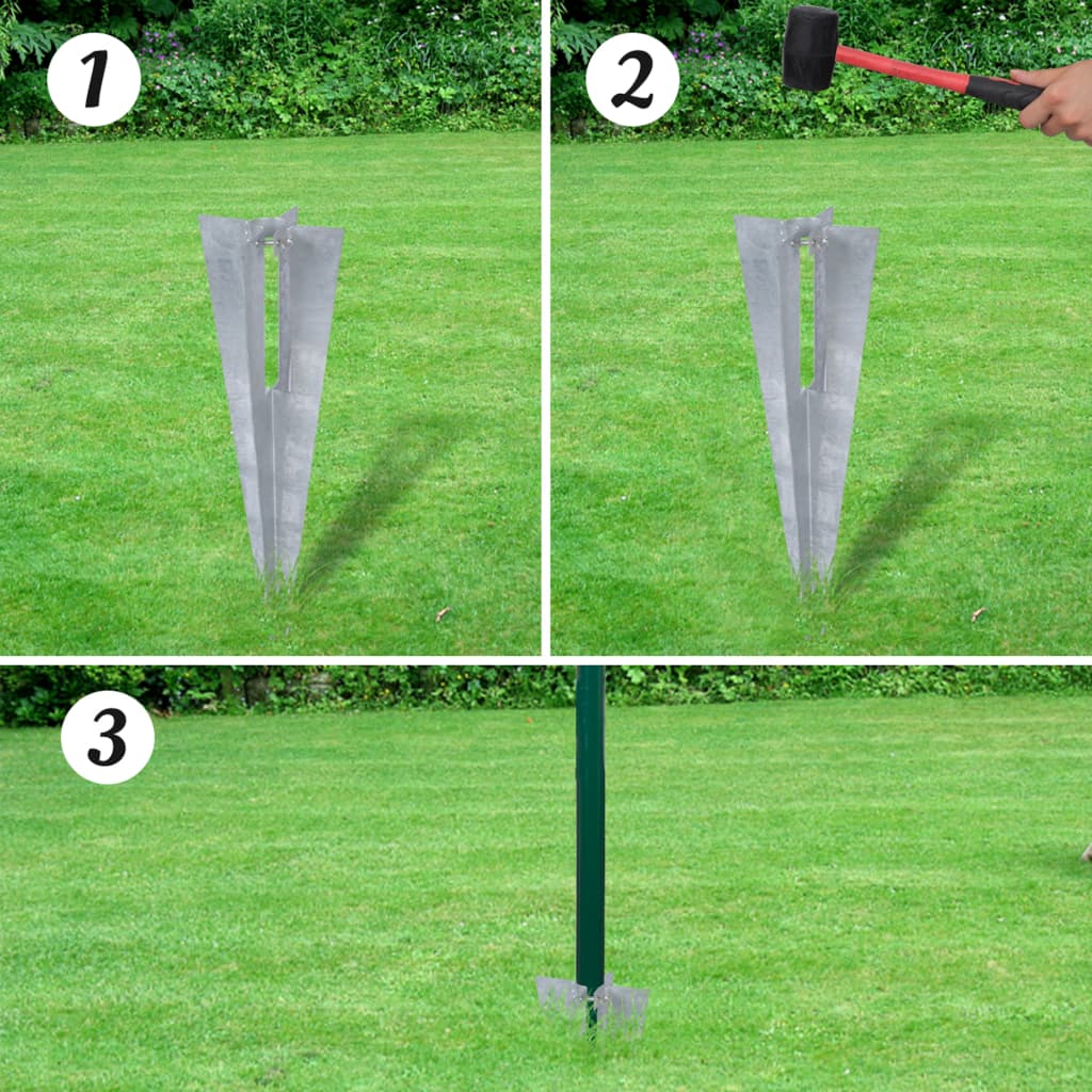 Vidaxl Co Uk Chain Link Fence Set Posts Spike Anchors