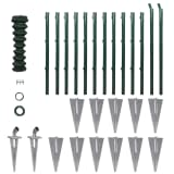 Chain-Link Fence Set Posts Spike Anchors & Other Fittings 1,5 x 25 m