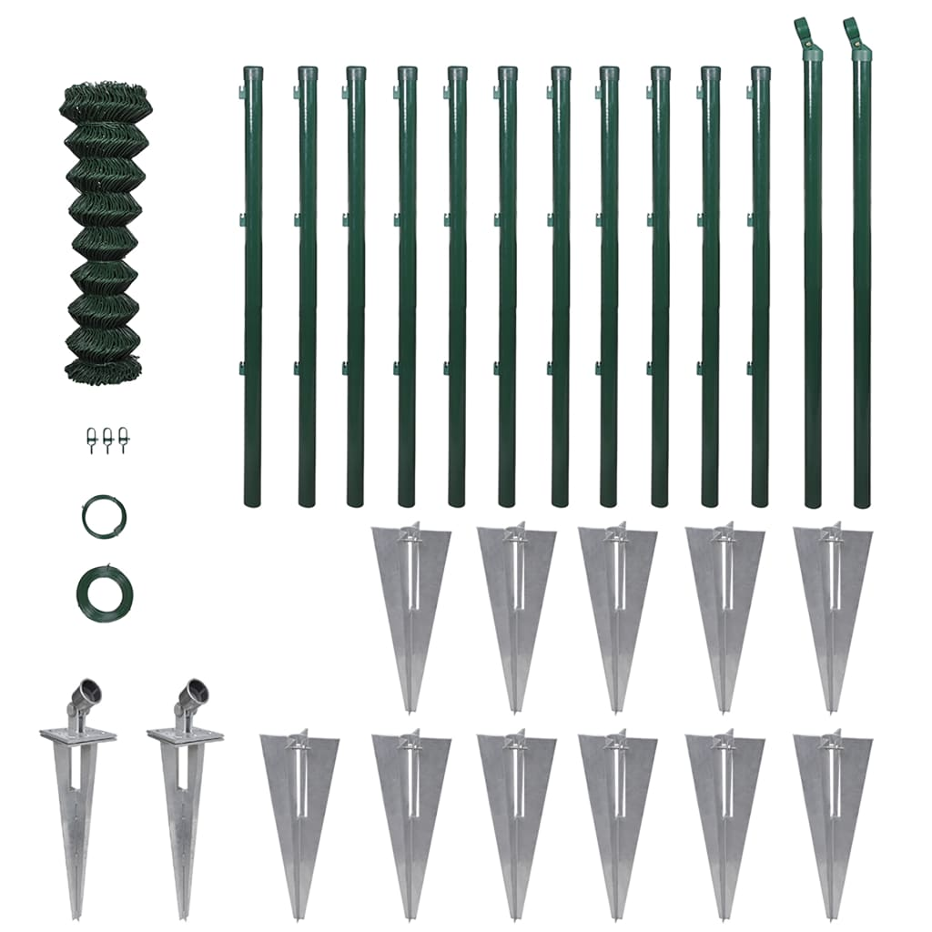 vidaXL Chain-Link Fence Set with Posts Spike Anchors & Other Fittings 1.5x25m