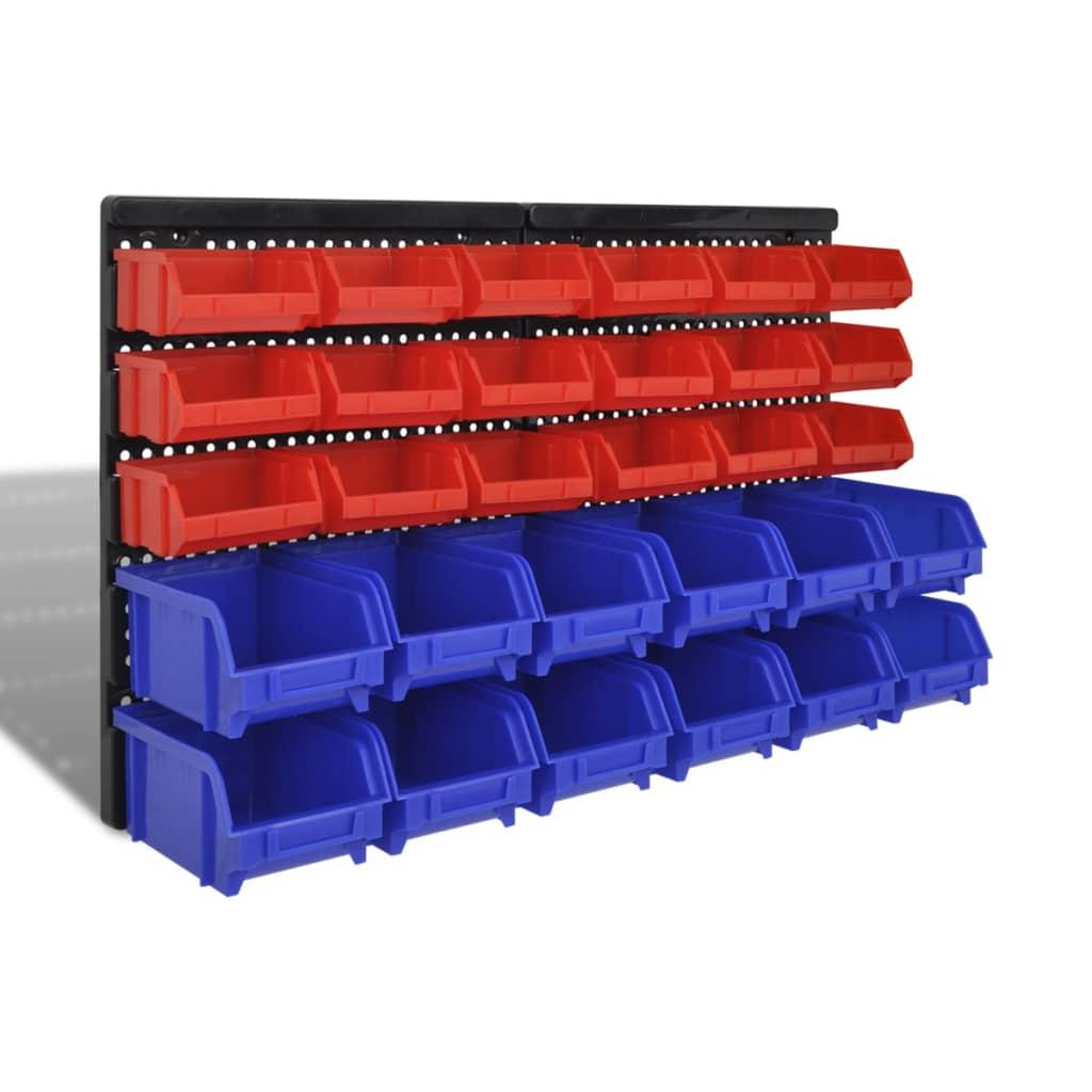 vidaXL Garázs műanyag tároló készlet 30 db kék és piros