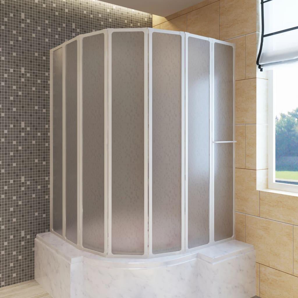 vidaXL Zuhanyzó kádparaván 140 x 168 cm 7 panelek behajtható törülközőtartó