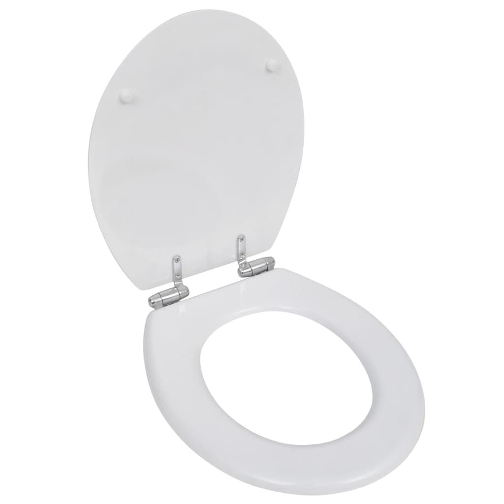vidaXL WC ülőke MDF puha lezáró egyszerű kivitel Fehér