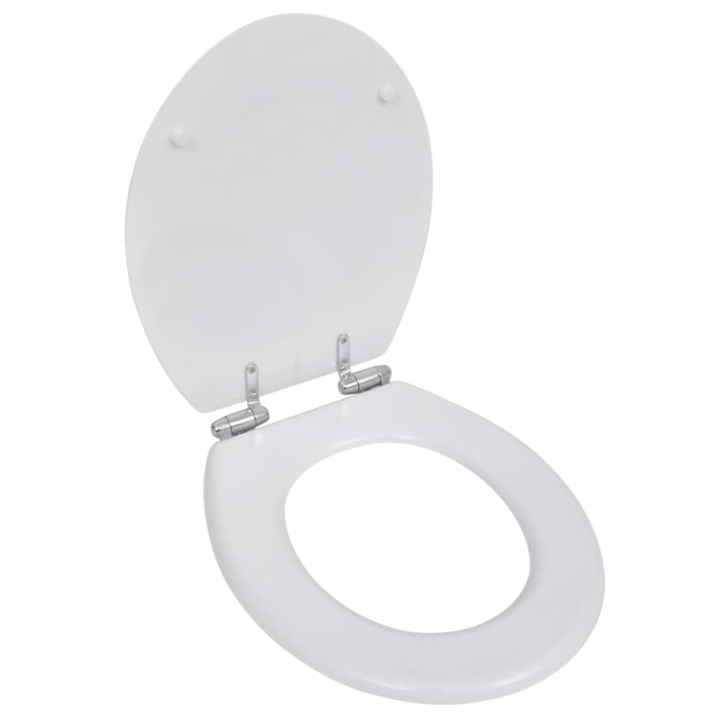 New WC Bathroom Toilet Seat MDF Soft Close Lid Simple Design White Black Brow