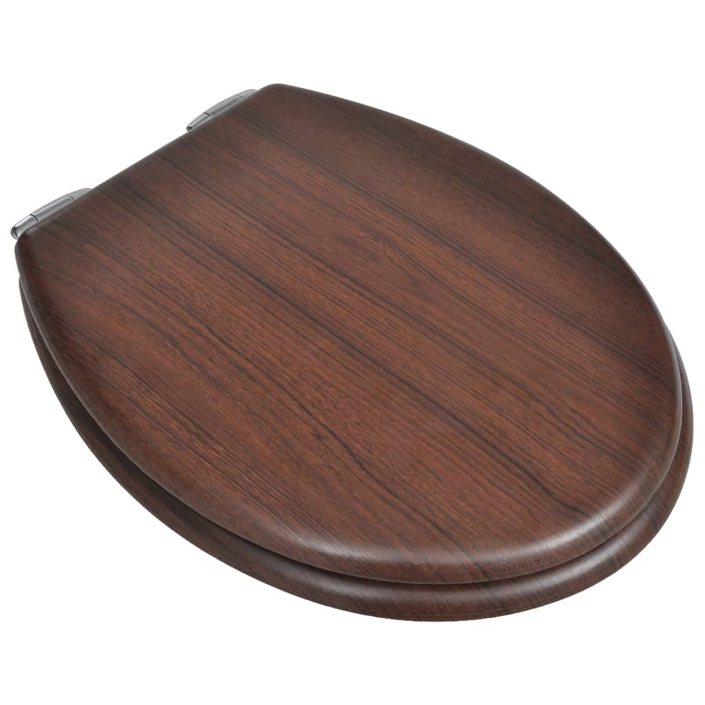 WC Toilet Seat MDF Soft Close Lid Simple Design Wood