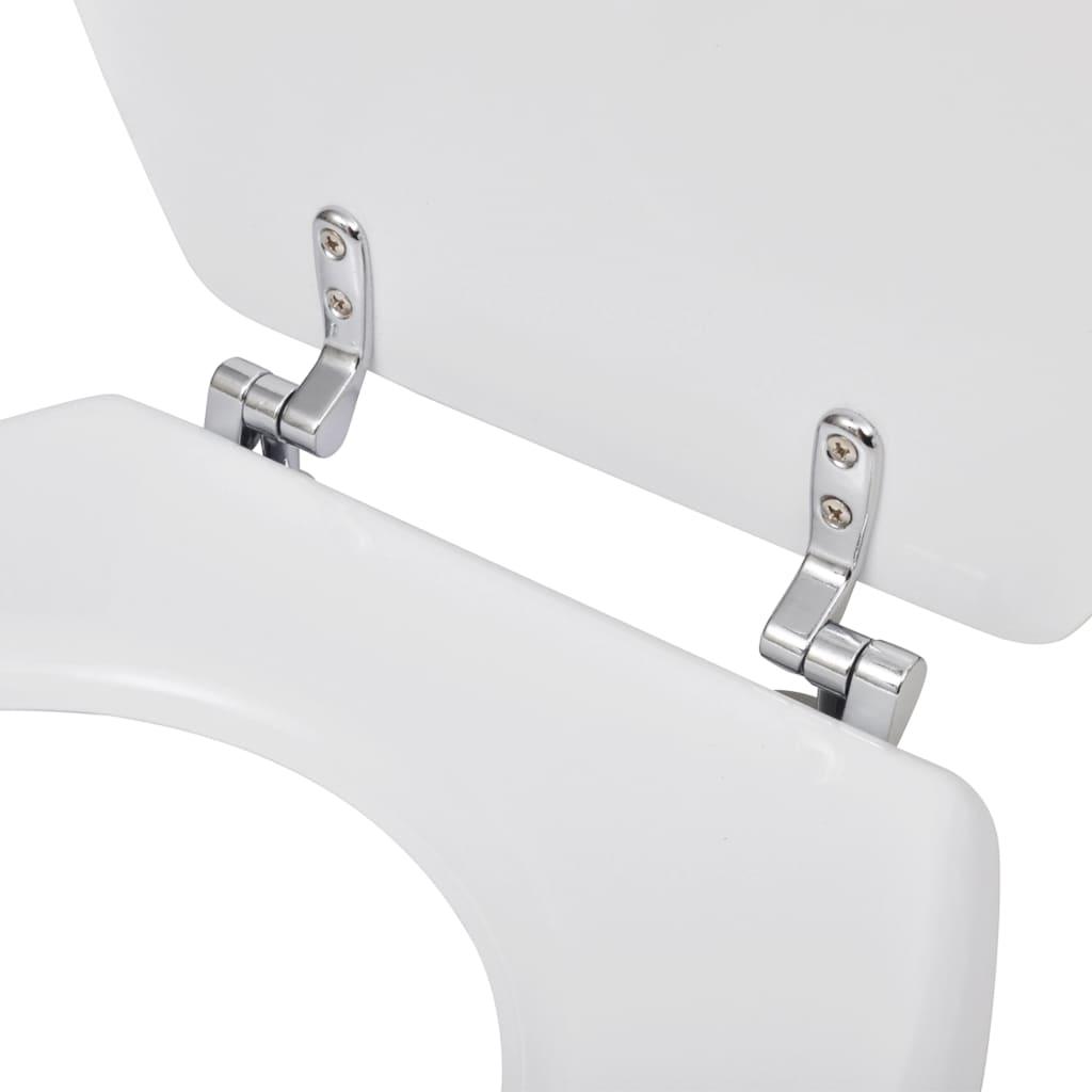 Asiento de inodoro con tapa de cierre duro blanco for Asiento de inodoro