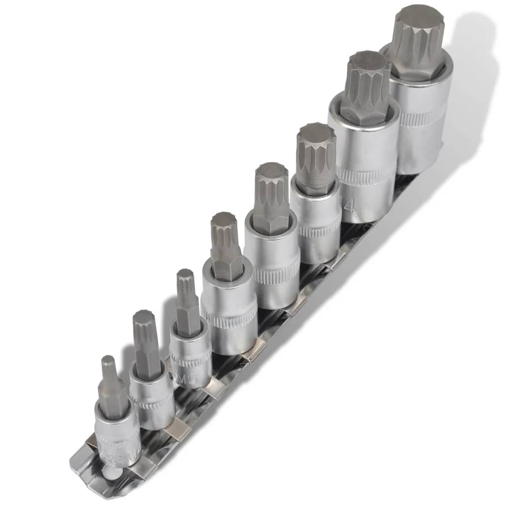 vidaXL 8 db-os 12 szögű dugókulcs készlet tartócsíkon