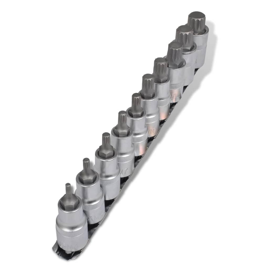 Bitssats 1/2 12-kant kromvanadiumstål 10-pack