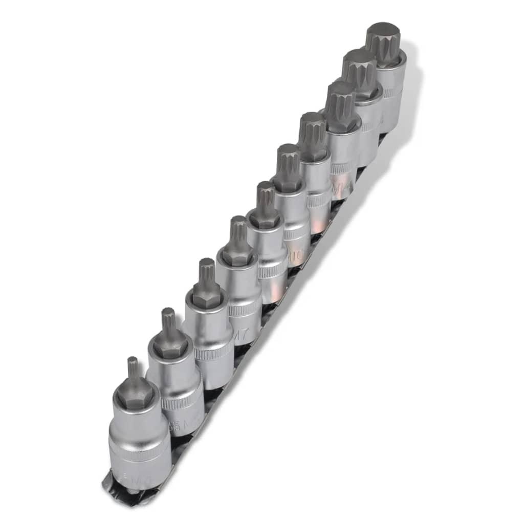vidaXL 12 pontos csavarhúzó készlet foglalat 10 darab szalagon