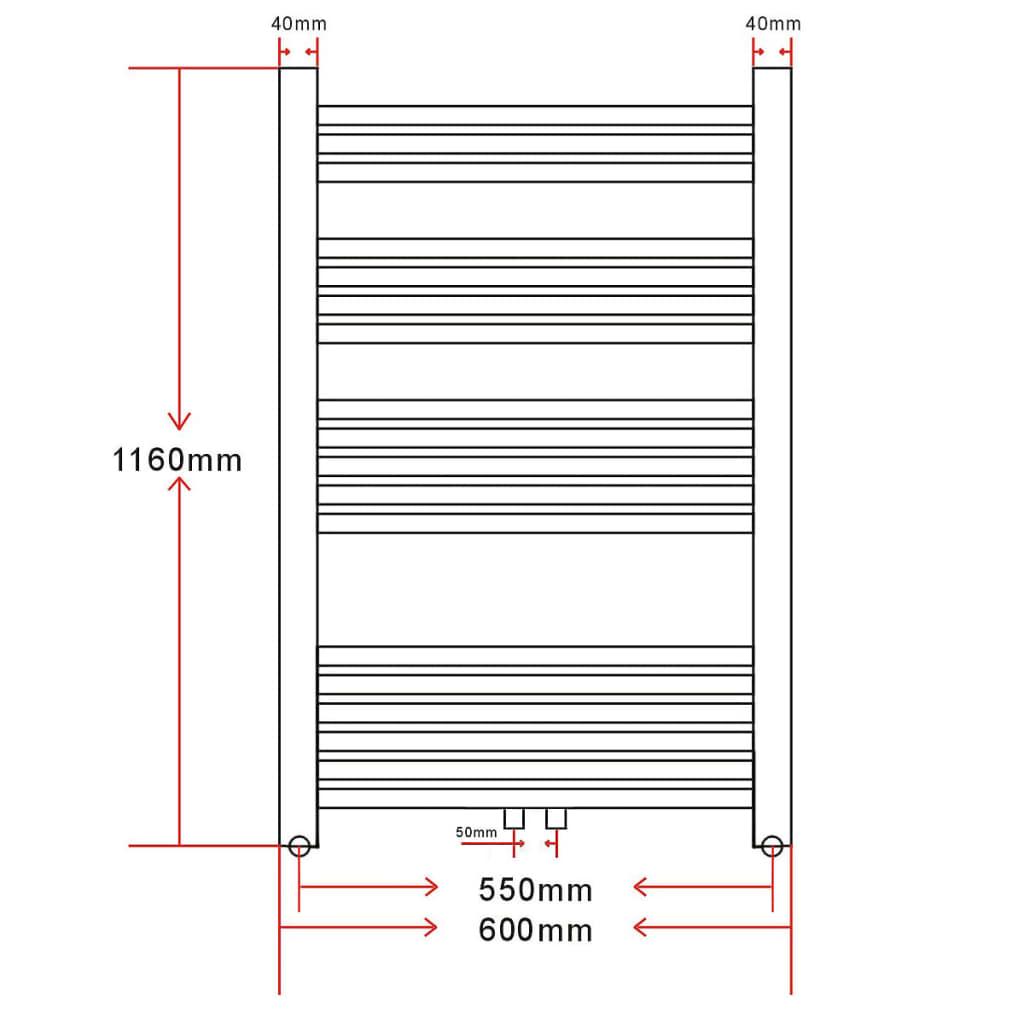 acheter radiateur s che serviettes vertical pour salle de bain 600x1160mm pas cher. Black Bedroom Furniture Sets. Home Design Ideas