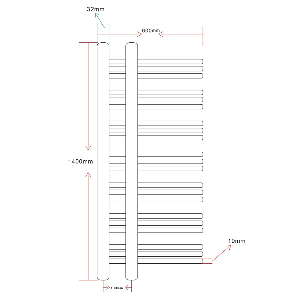 Radiador toallero en forma de e 600 x 1400 mm tienda - Cambiar radiador por toallero ...