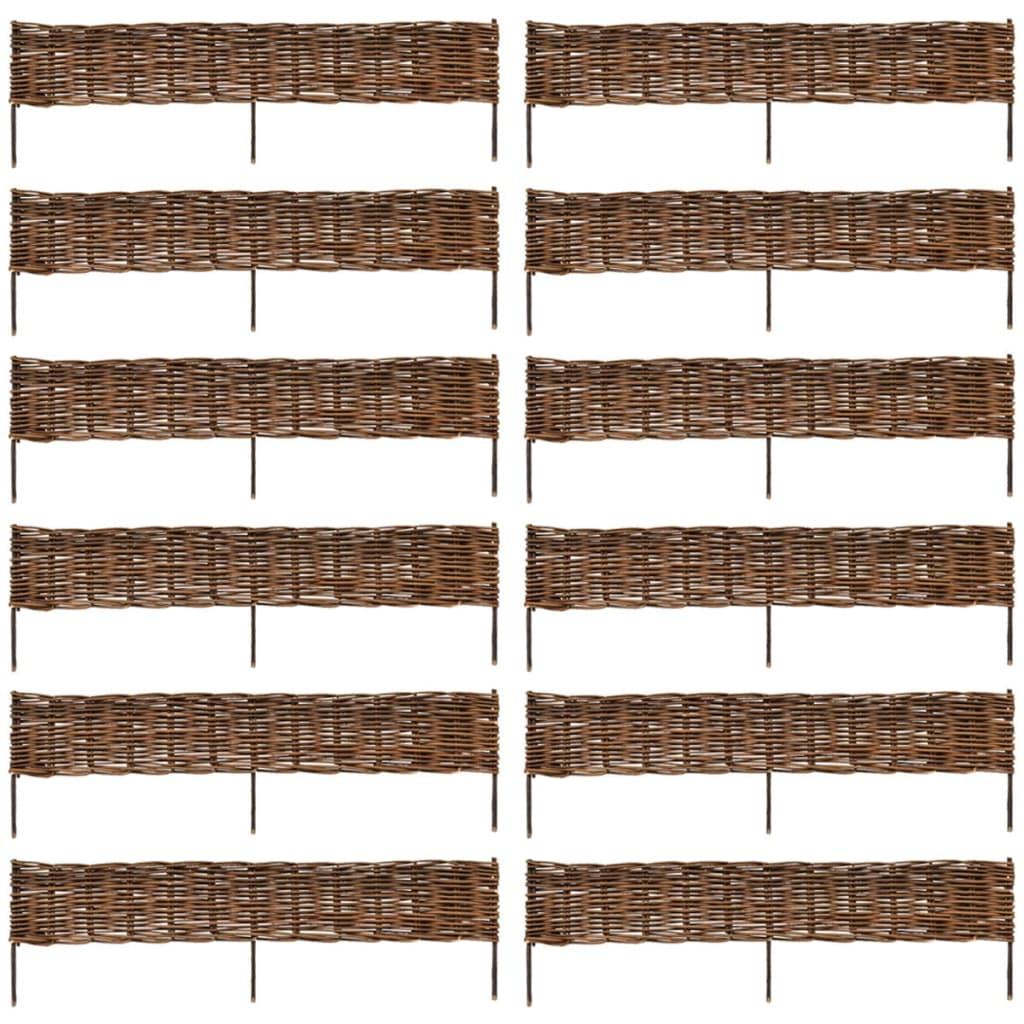 vidaXL Kert Fűzfa Határ Kerítés 12 db 120 x 35 cm Kiváló Minőségű
