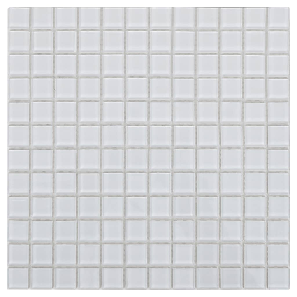 glass mosaic tiles white 10 pcs 0 9 sqm in. Black Bedroom Furniture Sets. Home Design Ideas