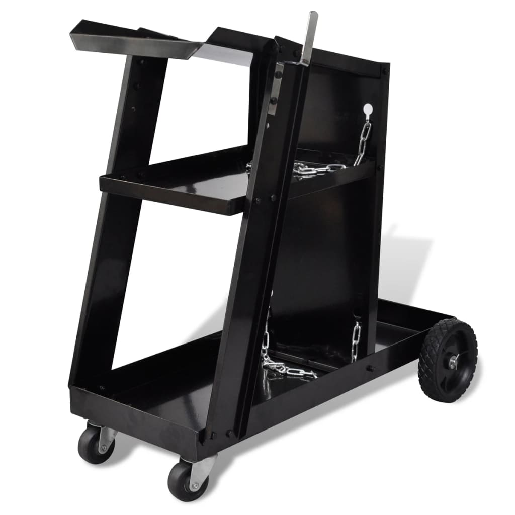 vidaXL Welding Cart Black Trolley with 3 Shelves Workshop Organiser
