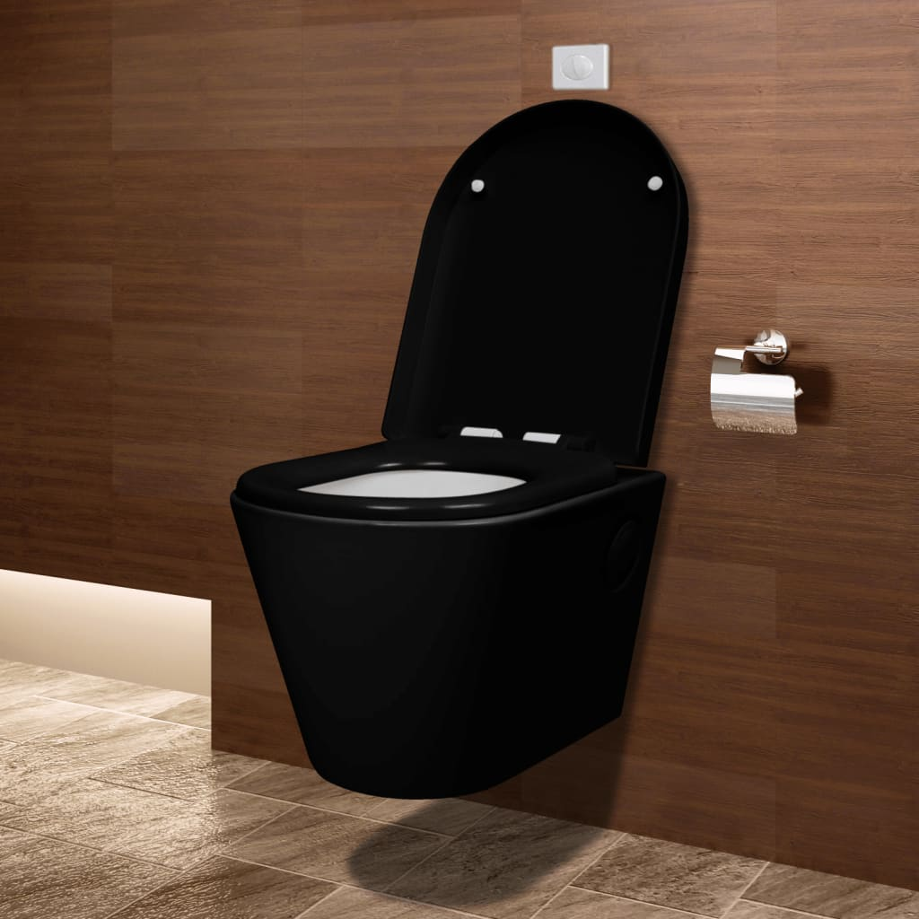 vidaxl co uk wall hung ceramic toilet wc bathroom black