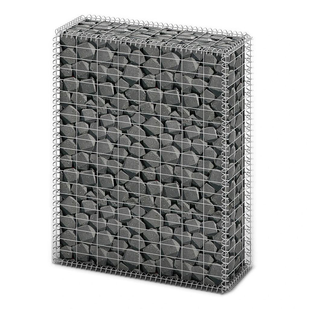 Afbeelding van vidaXL Schanskorf met deksels 100x80x30 cm gegalvaniseerd draad