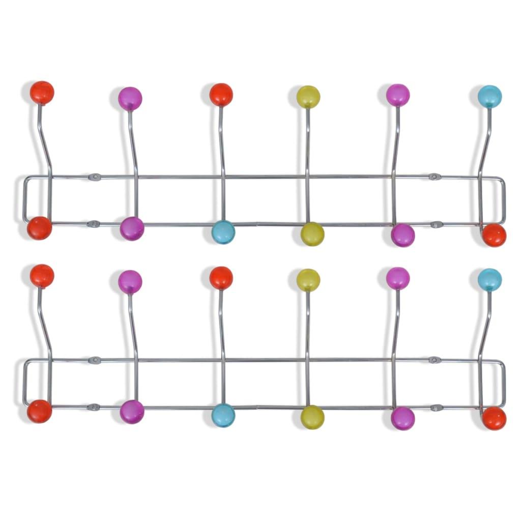 vidaXL se Krokbräda med 12 färgglada krokar 2 pack