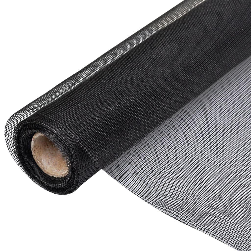 Insektsnät för dörrar eller fönster i glasfiber svart 100 x 1000 cm