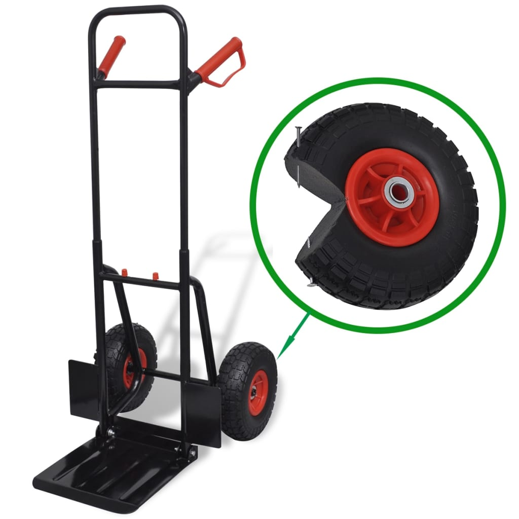 vidaXL Telescoping Metal Trolley Black and Red